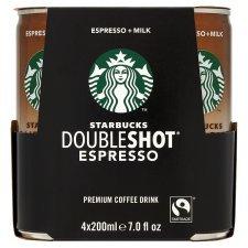 STARBUCKS DOUBLESHOT ESPRESSO COFFEE DRINK 4 PK