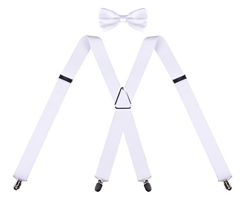 Bow Tie and Suspenders Set for Men X Shape Clip Straps and Pre tied Bowtie