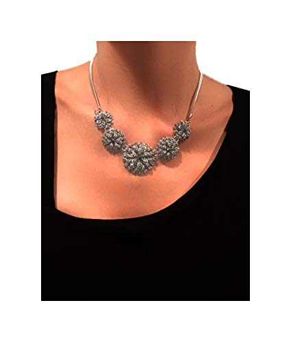 - Nataliya Collar Statement Necklace (Multi Layer Flower Short Collar)