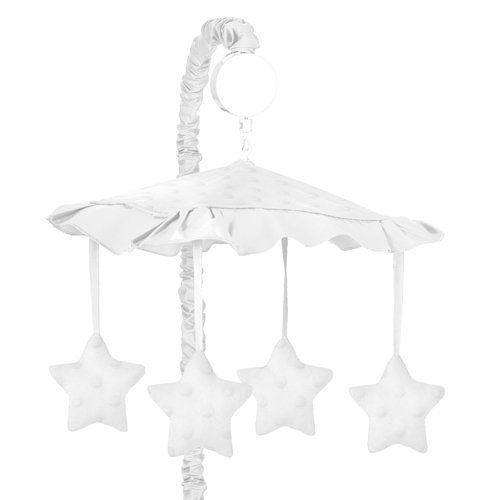 Sweet Jojo Designs Solid White Minky Dot Musical Baby Crib - Mobile Dot
