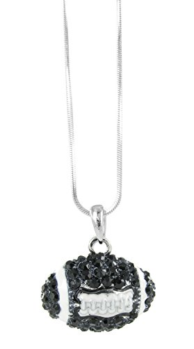 Dome Football Rhinestone Pendant Necklace - Black Crystal and White - Jets Football Charm
