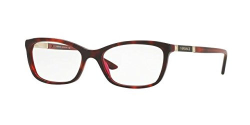 Versace Women's VE3186 Eyeglasses Havana/Bordeaux 54mm by Versace