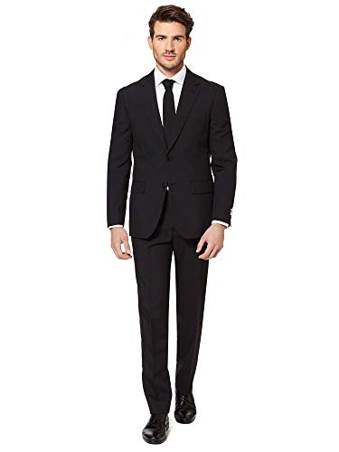 (Opposuits Black Knight Solid Black Suit For Men Coming With Pants, Jacket and Tie, Black Knight, US38)