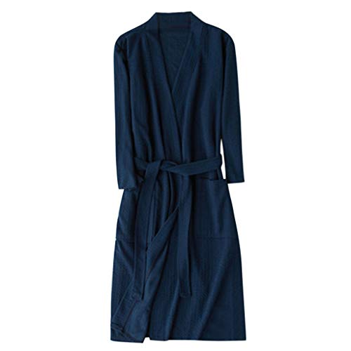 Trench Coats Temperament Solid Color Bathrobe,Unisex Breathable Splicing Home Clothes Robe Coat Navy