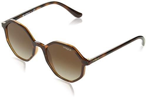VOGUE Women's 0vo5222s Round Sunglasses, Dark Havana Light Brown, 52 ()