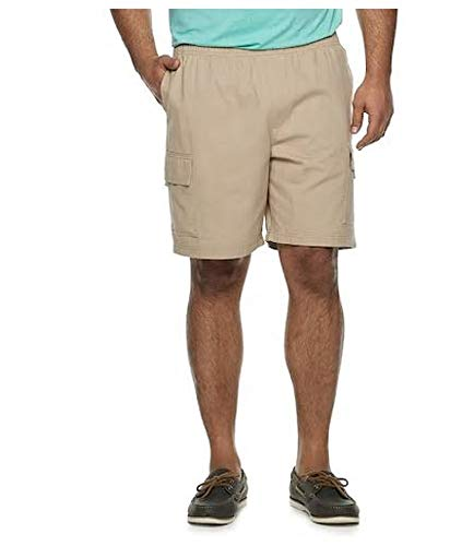 Croft & Barrow Big & Tall Elastic Waist Twill Cargo Shorts (Sculpted Stone, 48)