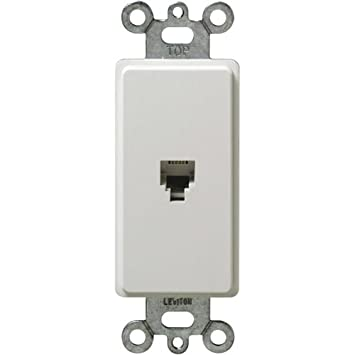 Leviton 40649-W 6P4C Screw Terminals, Decora Insert, White 022-40649-00W
