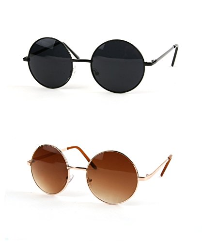 3248c44894 John Lennon 60 s Vintage Round Hippie Sunglasses (2 pcs Black-Smoke   Gold-