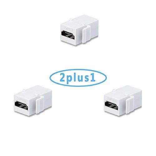 AVACON 2 Pack HDMI Keystone Jack Insert Female to Female Coupler Adapter (White)