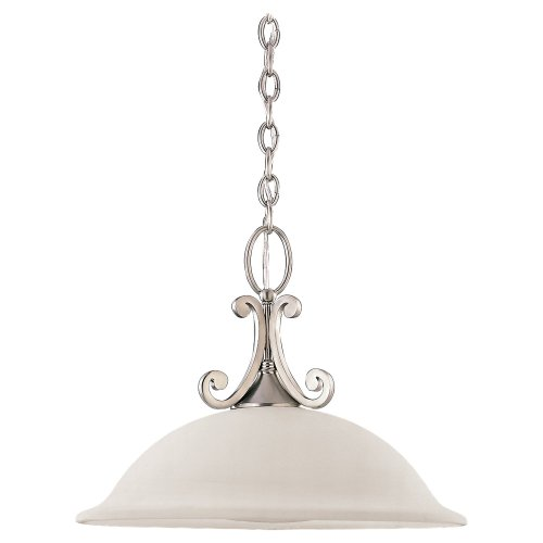 (Sea Gull Lighting 65190-962 Serenity One-Light Pendant, Brushed Nickel Finish with Excavated Alabaster Glass)