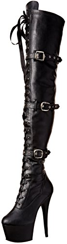 Pleaser Women's Ado3028/Bpu/m Boot, Black Faux Leather/Black Matte, 10 M US (Black Leather 7 Inch Heel)