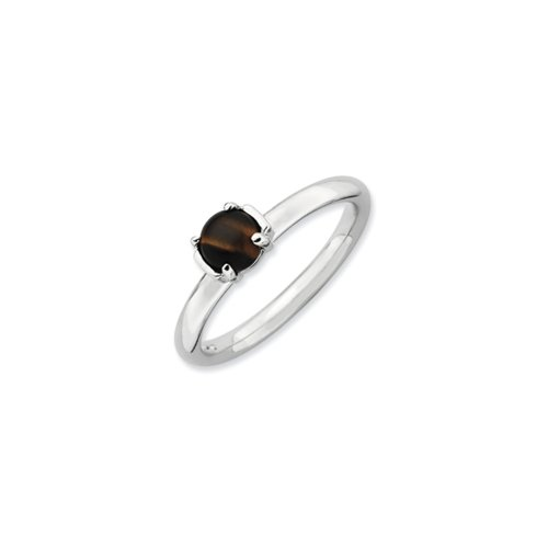 Silver Stackable Tiger's Eye Ring