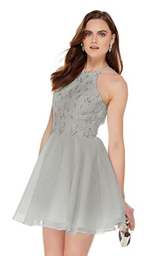 - Women's Halter Beaded Chiffon Lace Bodice Homecoming Dress Knee Length Prom Dress Silver Grey Size 12