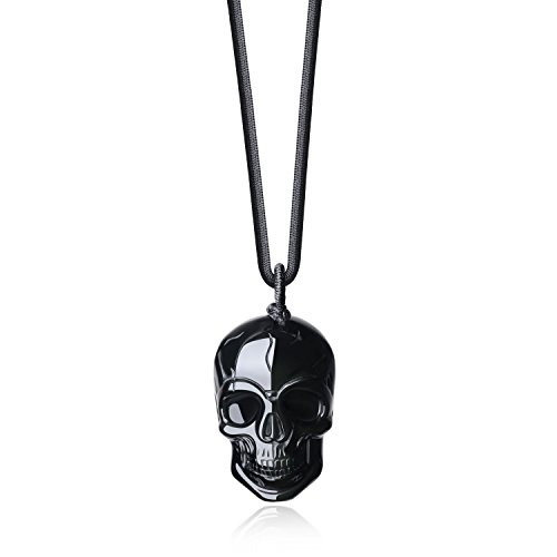 COAI Black Obsidian Stone Pendant Necklace Skull Jewelry