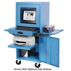 - Mobile Security Computer Cabinet, Blue, 24-1/2