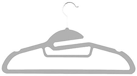 Zen Closet 712166792209 Slide Ultra Thin Heavy Duty No Slip Velvet Suit Hangers with Tie Bar, 50 Pack, Beige