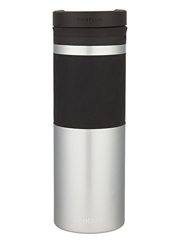 Contigo Vaccum-Insulated Stainless Steel TwistSeal Glaze Travel Mug, 16 oz, Silver