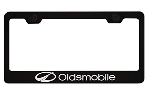 Oldsmobile Black License Plate Frame with Caps