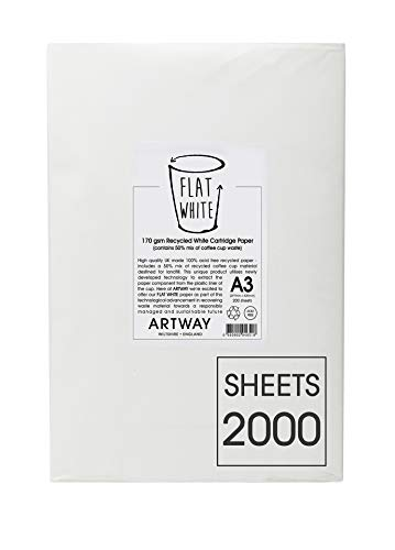 A4 Cartridge Paper PREMIUM 100/% Recycled Acid FREE Off White Cream Tooth 170gsm