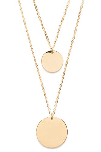 (Happiness Boutique Circle Layered Necklace Gold Plated | Double Row Necklace with 2 Round Disc Coin Pendants Geometric Design)