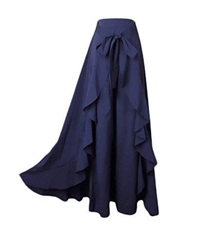 Battercake Et Femme Elgante Mode Jupe Longue Irrgulier Volants Casual Dame Bandage Bowknot Uni Manche avec Fermeture  Glissire Party Taille Haute Maxi Jupe Confortable Jeune Mode Style Moderne Blau