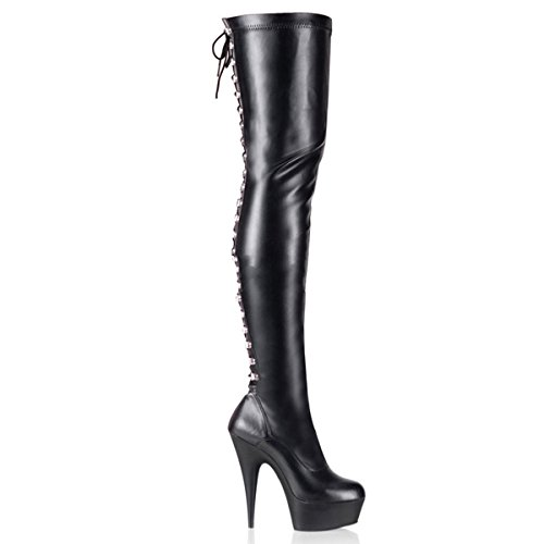 Pleaser Delight-3063 - Sexy Plateau High Heels Overknee Stiefel 36-45, Größe:EU-44 / US-13 / UK-10