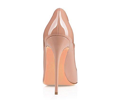 Vernis Taille Femme High Talon EDEFS Heel 120mm Grande Beige Escarpins Sexy Chaussures Aiguille v4q4w5Pp