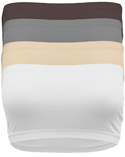 - OA Women's 8 Inch Seamless Non-Padded Bandeau Tube Top Bra in Multi Color Combos SET4_BRWN_WH_Nude_Grey OS