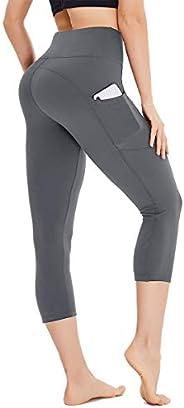 HIGHDAYS Capri Yoga Pants for Women - High Waist Tummy Control Capri Leggings with Pockets for Workout, Runnin