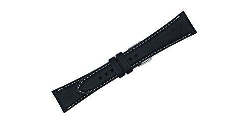 22mm Black Soft Genuine Leather Replacement Watch Strap with Contrast Stitch MADE IN USA FBA106