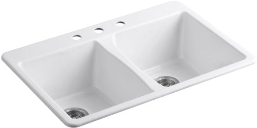 Bowl Rimming Hole Self Double (KOHLER K-5873-3-0 Deerfield Double Bowl Top-Mount Kitchen Sink with Three Hole Drillings, White)