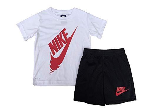 02e32b8a3b309 Nike Little Boys 2 Piece Swoosh T-Shirt Tee & Shorts Set, White  (86C261-023) / University Red/Black , 6 (5-6 years)
