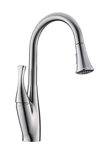 GICEEPO Kitchen Faucets Single Handle Single Hole Swivel Spout Brushed Nickel Pull Out Kitchen Sink Faucet with Sprayer High Arc Design Deck Mounted