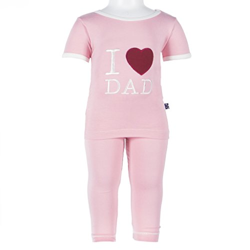 Kickee Pants Toddler Girls' Holiday Short Sleeve Applique Pajama Set, Lotus I Love Dad, 4T by Kickee Pants