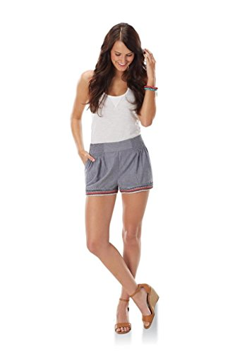 Price comparison product image Mud Pie Women Bree Embroidered Chambray Shorts Elastic Waist Slip-On