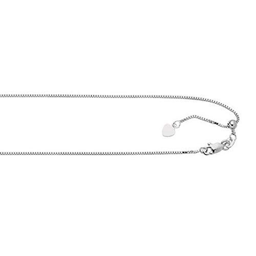 JewelryWeb Sterling Silver 22 Inch Rhodium Italian Sparkle-cut Adjustable 0.8mm Box Chain Necklace (Lobster-claw)