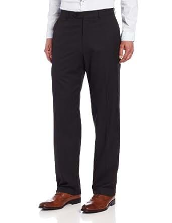 Haggar Mens Multi Bead Stripe Plain Front Suit Pant, Black, 32/30