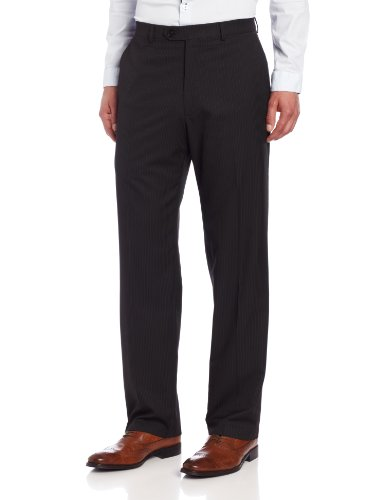Haggar Men's Big-Tall Big and Tall Multi Bead Stripe Plain Front Suit Separate Pant, Black, 36x36