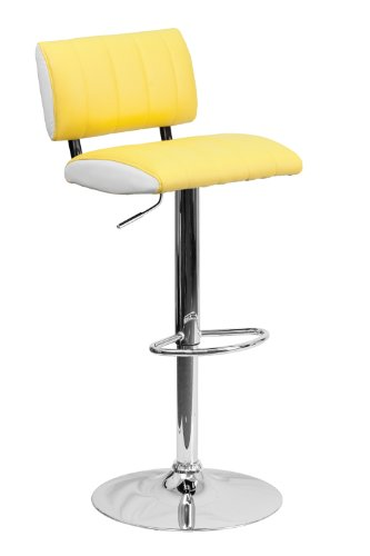 Flash Furniture Contemporary Two Tone Yellow and White Vinyl Adjustable Height Footrest Bar Stool with Chrome Base