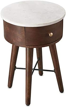 Steve Silver Bangalore Round White Marble Top and Brown Cherry Base End Table