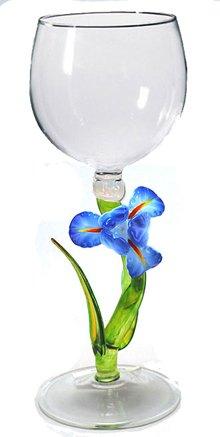 Hand Blown Blue Iris Wine Glass Hand-blown by Yurana Designs W306