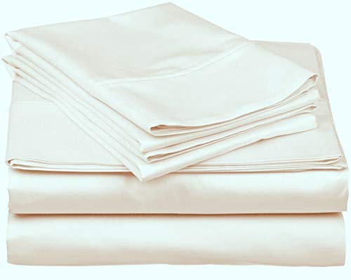 True Luxury 1000 Thread Count 100 Egyptian Cotton Bed Sheets 4 Pc King Cream Sheet Set Single Ply Long Staple Yarns Sateen Weave Fits Mattress Upto 18 Deep Pocket