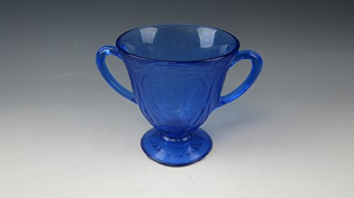 Blue Open Sugar Bowl - Hazel Atlas ROYAL LACE-COBALT BLUE Footed Open Sugar Bowl EXCELLENT