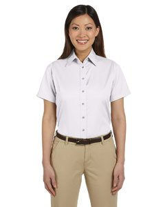 Harriton M500SW Ladies Short Sleeve Twill Shirt with Stain-Release - White - L