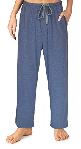 EVERDREAM Sleepwear Womens Jersey Knit Pajama Pants, Long Pj Bottoms,Size Large Blue