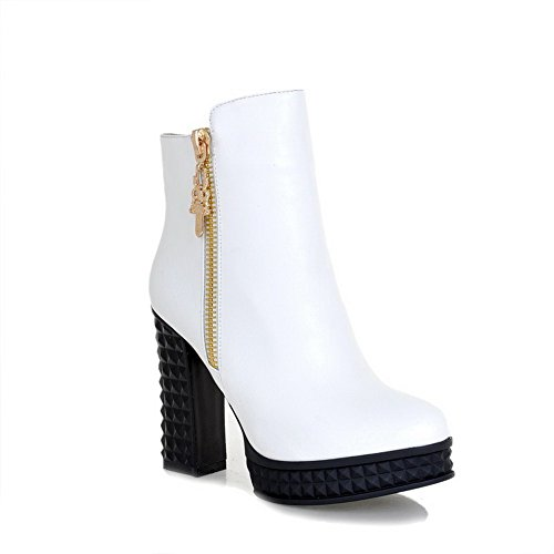 6 US High Solid Round PU 5 Boots B Material Toe Soft Closed Metalornament AmoonyFashionWomens M White with Heels T4B8tO