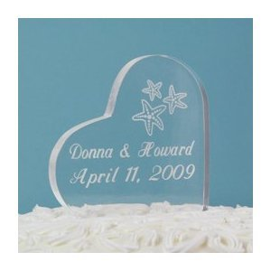 Personalized Beach Wedding Acrylic - Beach Wedding Acrylic Heart Cake Topper