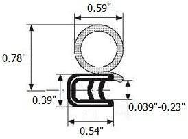Trim door rubber seal 15mm diameter bulb X 1-4mm grip range X 14mm U height 15 Feet