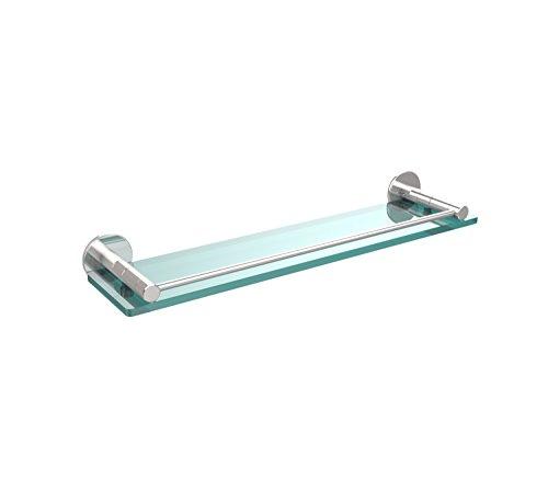 Allied Brass FR-1/22G-PC Fresno Collection 22 Inch Glass Shelf with Vanity Rail Polished Chrome