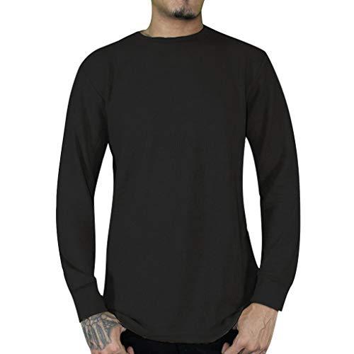 Forthery Men's Long Sleeve Thermal Tops Crewneck Fleece Stripe Shirts Sweatshirt(Black,US Size XL = Tag ()